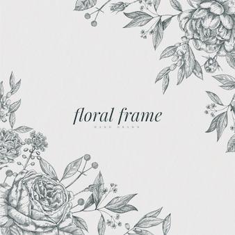 Sfondo floreale botanico vintage disegnato a mano