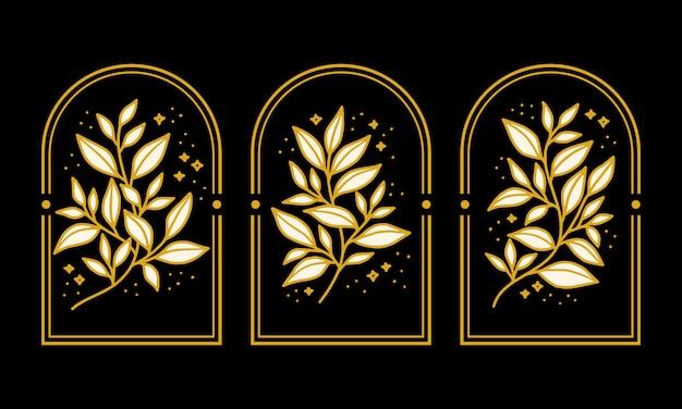Collezione di elementi logo fiore di peonia botanica vintage disegnata a mano