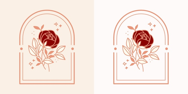 Logo del fiore di rosa botanico vintage disegnato a mano ed elegante elemento del marchio di bellezza