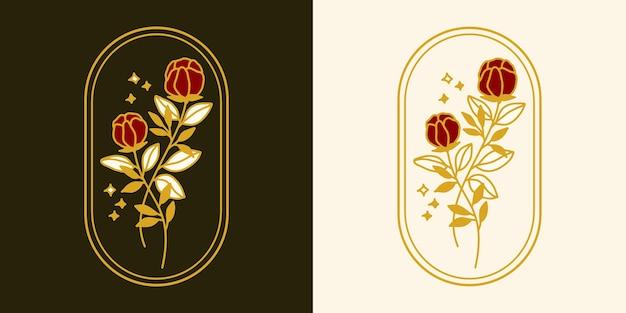 Elemento di logo fiore rosa botanico vintage disegnato a mano