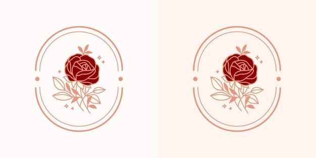 Logo del fiore di rosa botanico vintage disegnato a mano e elemento del marchio di bellezza rosa