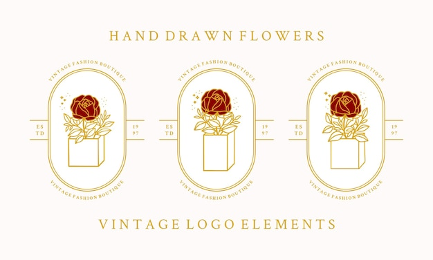 Modello di logo fiore rosa botanico vintage disegnato a mano e collezione di elementi di marca di bellezza femminile