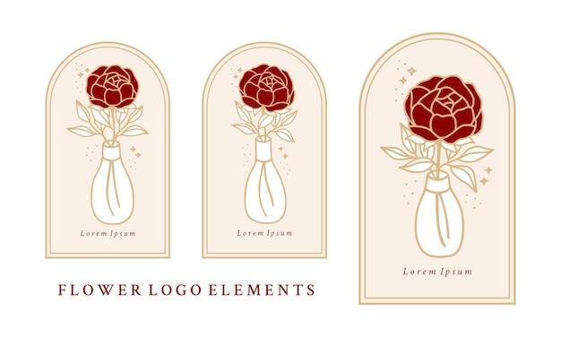 Vaso di bottiglia modello logo fiore di peonia rosa botanica vintage disegnato a mano e collezione di elementi di marca di bellezza femminile