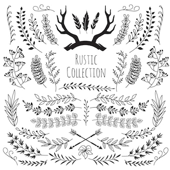 Disegnati a mano rami d'epoca, corna di confine cornici antlers, piume, frecce. vettore di matrimonio decorativo floreale rustico