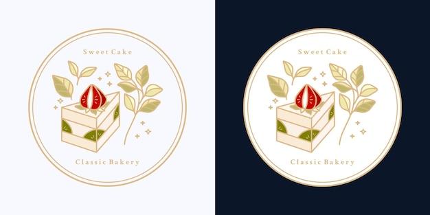 Insieme di etichette vintage torta disegnata a mano