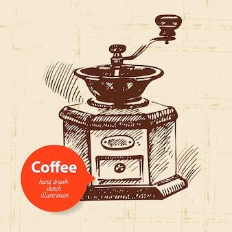Sfondo caffè vintage disegnato a mano