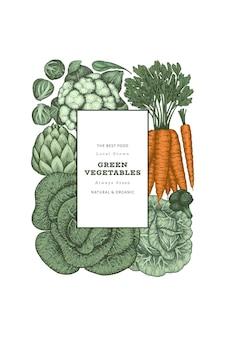 Verdure di colore vintage disegnate a mano. cibo fresco biologico