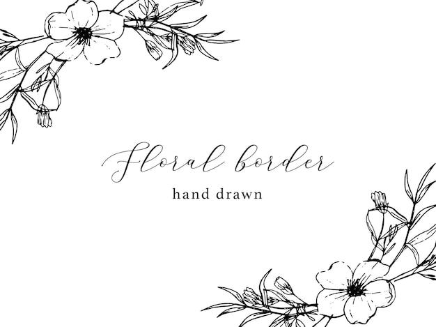 Bordo floreale vintage disegnato a mano
