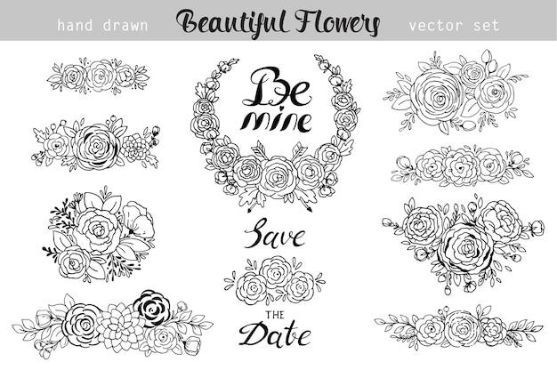 Elementi floreali vintage disegnati a mano. set di fiori, icone ed elementi decorativi. può essere utilizzato per inviti di nozze o decorazioni per le vacanze, pagine web e altro per il tuo design