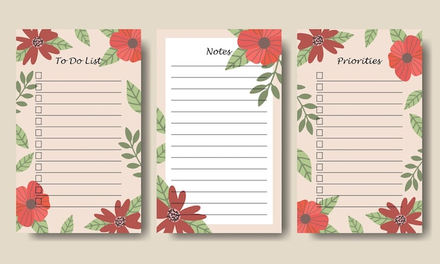 Modello di elenco note da fare per l'illustrazione floreale dell'annata disegnata a mano stampabile