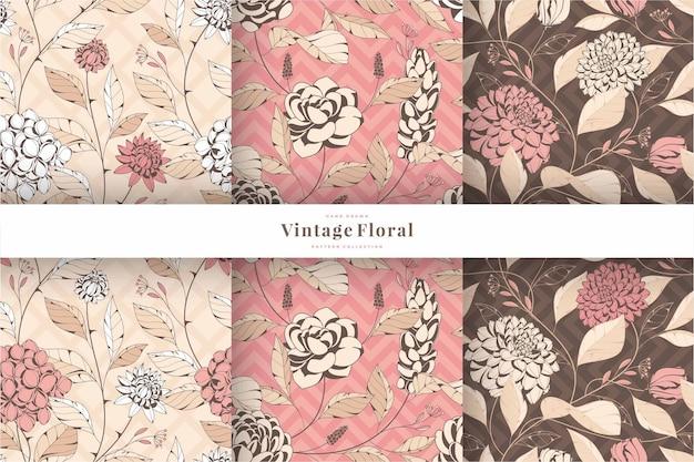 Collezione di motivi floreali vintage disegnati a mano