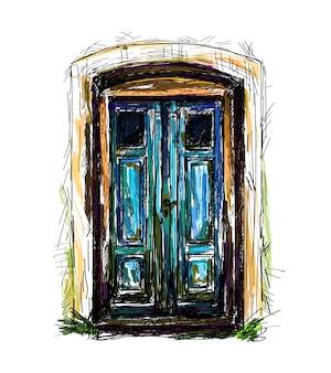 Modello di porta d'ingresso vintage disegnato a mano su sfondo bianco. illustrazione vettoriale.