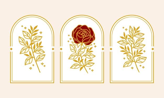 Collezione di elementi logo fiore rosa botanico oro vintage disegnata a mano