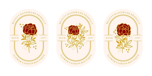 Modello di logo fiore rosa botanico oro vintage disegnato a mano e collezione di elementi di marca di bellezza femminile