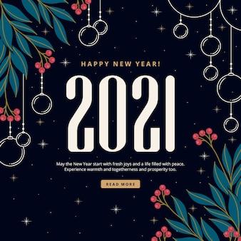 Lettering vintage felice anno nuovo disegnato a mano