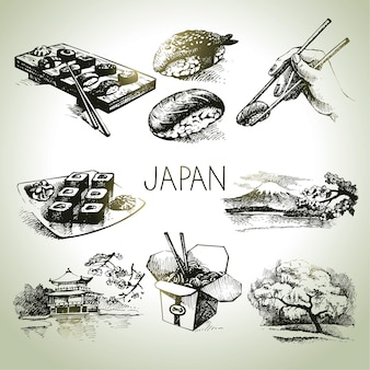 Set giapponese vintage disegnato a mano