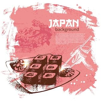 Sfondo di sushi giapponese vintage disegnato a mano Vettore Premium