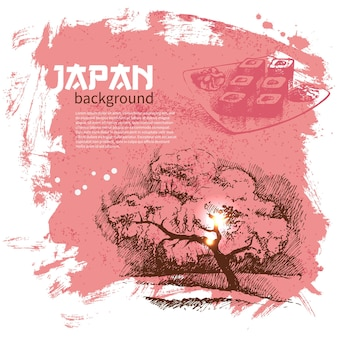 Sfondo di sushi giapponese vintage disegnato a mano