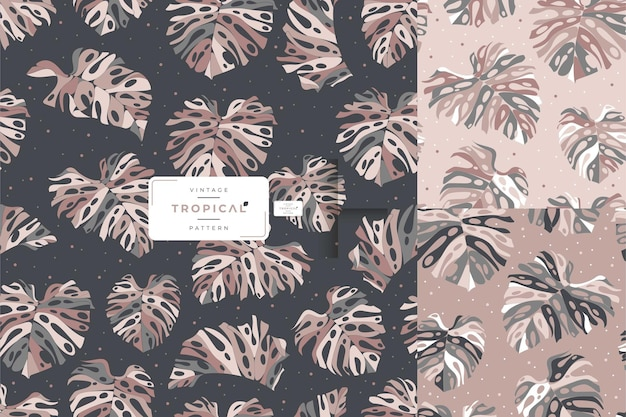 Monstera vintage disegnato a mano lascia il design pattern