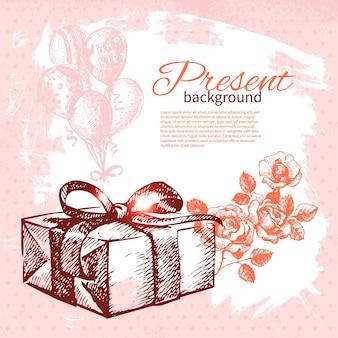 Fondo attuale dell'annata disegnato a mano con scatola regalo. illustrazione vettoriale con design splash