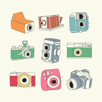 Collezione di macchine fotografiche vintage e retrò disegnata a mano