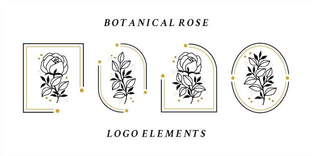 Collezione di elementi logo fiore rosa vintage disegnata a mano per prodotto femminile o marchio di bellezza