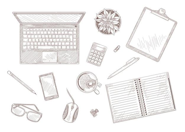 Schizzo vintage disegnato a mano del desktop con laptop e cancelleria. vista dall'alto di computer, notebook, pianta sul tavolo isolato su illustrazione incisa bianca