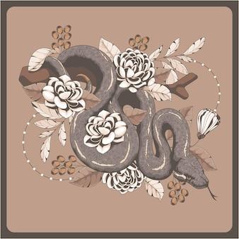 Sfondo di serpente vintage disegnato a mano