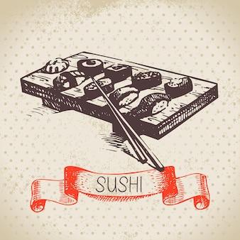 Sfondo di sushi vintage disegnato a mano