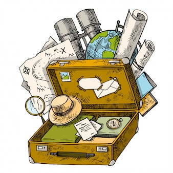 Borsa da viaggio vintage disegnata a mano. schizzo apri valigia con cose da viaggio o da vacanza. insieme di cose retrò per il viaggio.