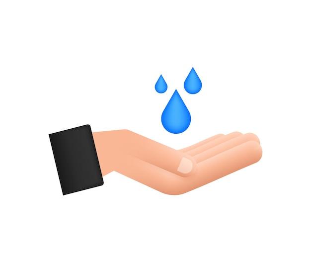 Goccia d'acqua disegnata a mano nelle mani per il design di banner. pianeta terra. risparmia l'acqua della terra.