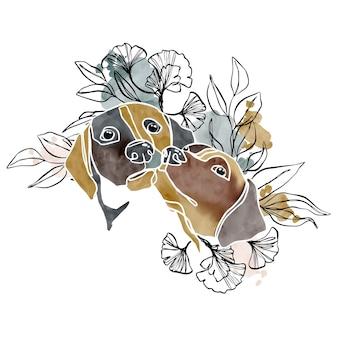 Cani astratti dell'acquerello disegnato a mano coppia ritratto con piante di swoosh dell'acquerello e linea arte
