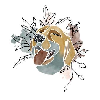 Illustrazione astratta dell'acquerello disegnato a mano del ritratto del cane e degli elementi floreali