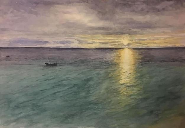 Illustrazione disegnata a mano della barca dell'acquerello con la spiaggia del mare