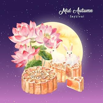 Carta acquerello disegnato a mano con loto rosa con luna, torta di luna e coniglio sul cielo notturno viola e stella