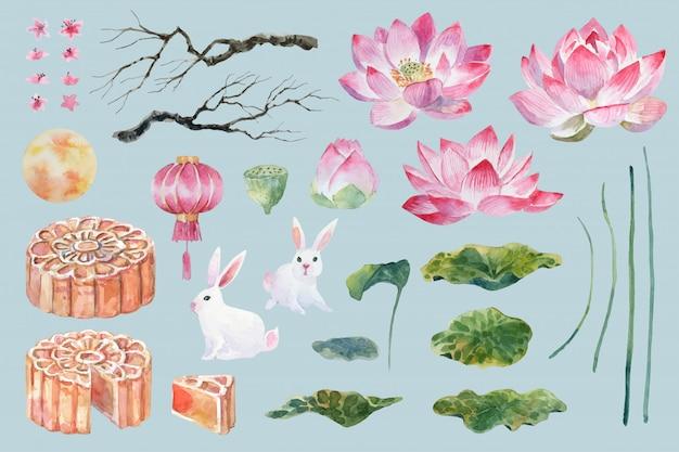Elementi cinesi dell'acquerello disegnato a mano Vettore Premium