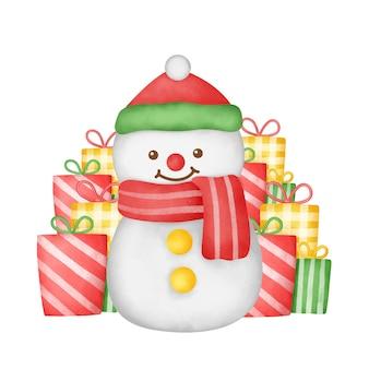 Cartolina di natale acquerello disegnata a mano con simpatico pupazzo di neve e scatole regalo.