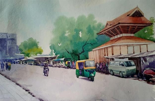 Illustrazione disegnata a mano della scena della via della città dell'acquerello