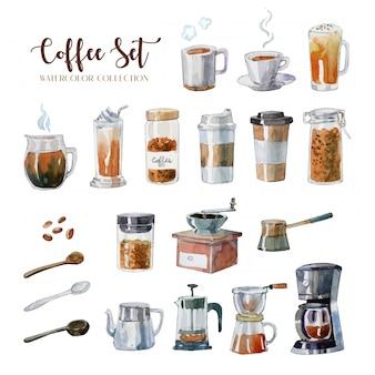 Insieme dell'attrezzatura del caffè dell'acquerello disegnato a mano