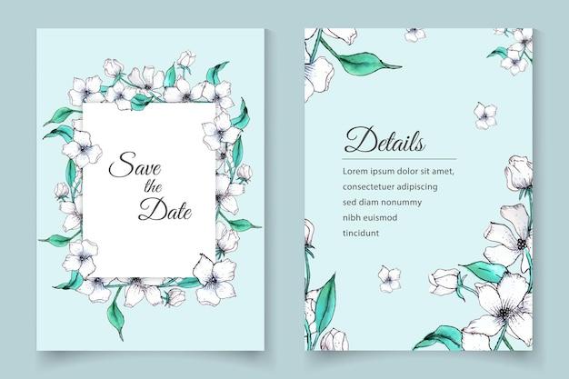 Set di biglietti d'invito per matrimonio floreale ad acquerello disegnato a mano