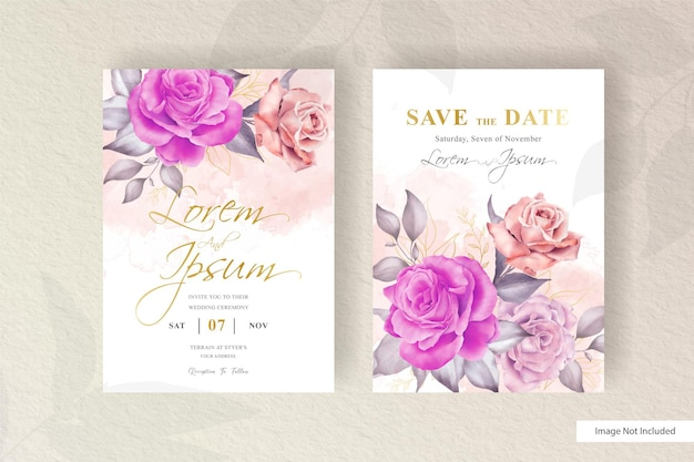 Modello di biglietto d'invito per matrimonio floreale acquerello disegnato a mano con elemento floreale e foglie di disposizione minimalista