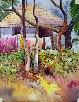 Fiori disegnati a mano dell'acquerello nell'illustrazione del parco