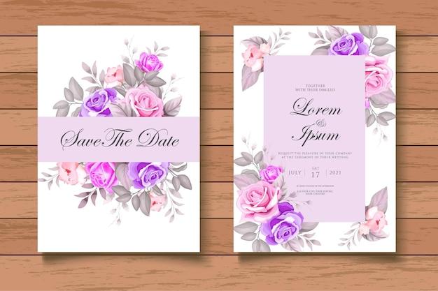 Carta di invito a nozze foral acquerello disegnato a mano