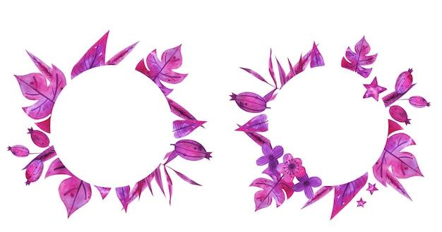 Cornici acquerello disegnato a mano con fiori rosa provenza. Vettore Premium