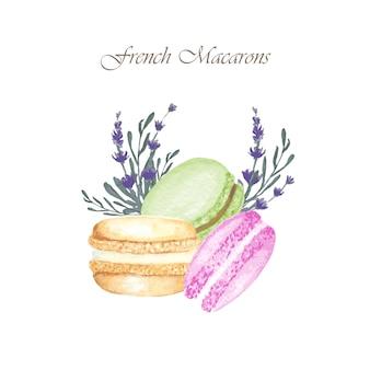 Composizione di torte di macaron francese dell'acquerello disegnato a mano con fiori di lavanda, dessert di pasticceria francese, biscotti di amaretto.
