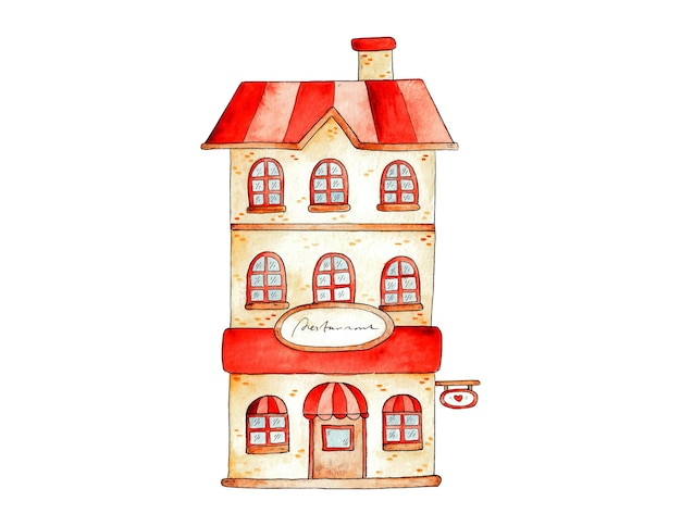 Illustrazione vettoriale disegnata a mano del negozio anteriore dell'acquerello