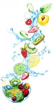 Frutti disegnati a mano dell'acquerello che cadono nella ciotola di vetro