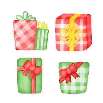 Set di scatole regalo acquerello disegnato a mano.
