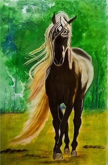 Illustrazione disegnata a mano del cavallo dell'acquerello