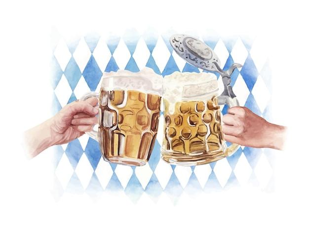 Illustrazione disegnata a mano dell'acquerello tintinnio di bicchieri di birra con la mano